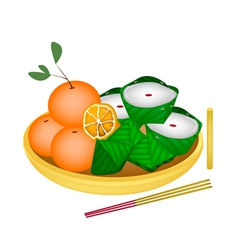Pyramid dessert and chinese pudding with orange vector