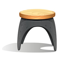 A plastic chair with a wooden seat vector