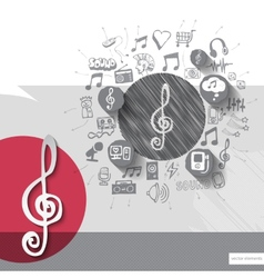 Hand drawn treble clef icons with icons background vector