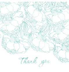Watercolor floral thank you card vector