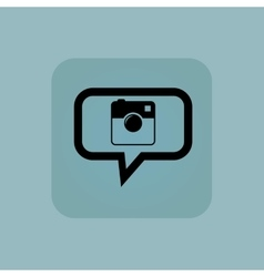 Pale blue square camera message vector