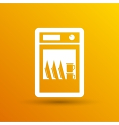 Icon dishwasher appliance kitchen clean vector