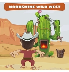 Cowboy cook a moonshine of cactus in the wild west vector