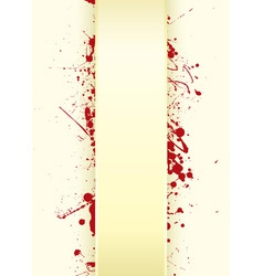 Grunge paper background with curved tab and blood vector