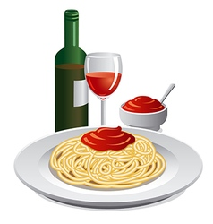 Spaghett and sauce vector