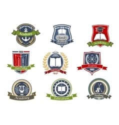 Academy university and college heraldic emblems vector