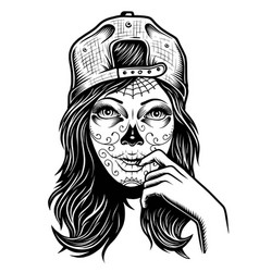 Black and white skull girl with vector