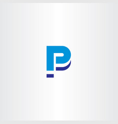 Blue p letter icon sign element logo vector