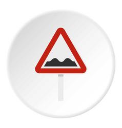 Bumpy road sign icon circle vector