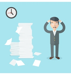 Businessman has a lot of work to do Flat office vector image