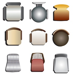 Chair top view set 3 vector
