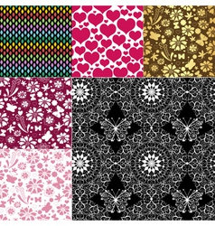 Collection seamless patterns vector image vector image