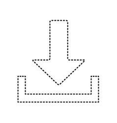 Download sign black dashed vector