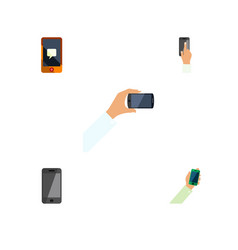 flat icon smartphone set of smartphone chatting vector image vector image