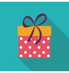 Gift box flat icon with long shadow vector