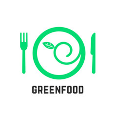 Green food logo with tablewares vector