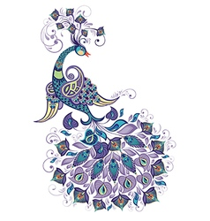 Greeting Beautiful card with peacock vector image vector image