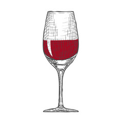 Hand drawn engraved wineglass on white vector