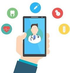 Online Doctor Man holding smartphone vector image
