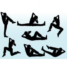 people aerobic poses vector image