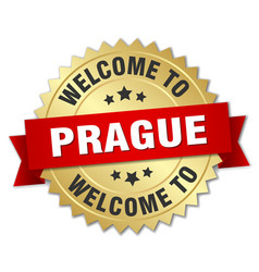 prague 3d gold badge with red ribbon vector image vector image