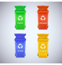 Recycle bins with recycle sign vector image
