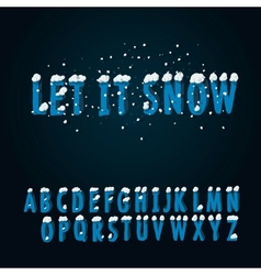 Retro type font with snow vector image