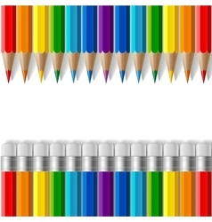 Rows of rainbow colored pencils with erasers and vector image vector image