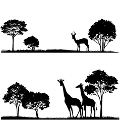 Set of lndscapes with trees and wild animals vector