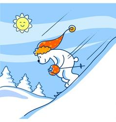 Skiing bear vector image