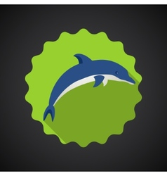 Summer Travel Sea Dolphin flat icon vector image