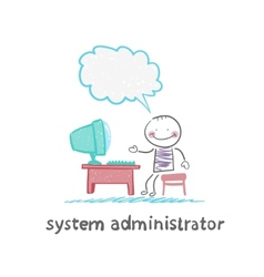 System administrator communicates with people from vector