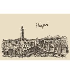 Taipei skyline taiwan engraved sketch vector