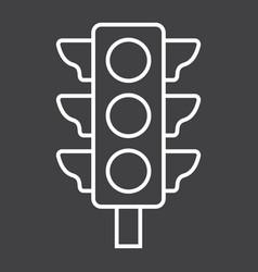 Traffic light line icon stoplight and navigation vector