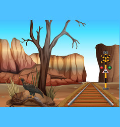 train track through the canyons vector image vector image