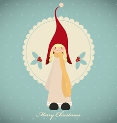 Vintage christmas card with cute girl gnome vector