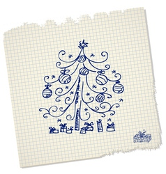 vintage christmas tree with gifts vector image vector image