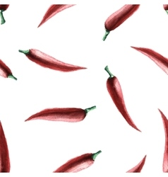 Watercolor chilli pepper seamless pattern vector image