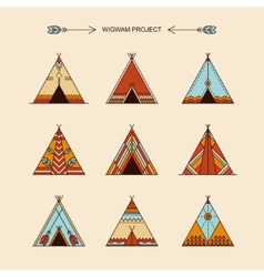 Wigwams with ornamental elements vector
