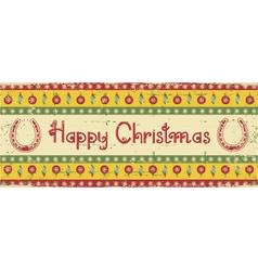 christmas decoration background with horseshoes vector image