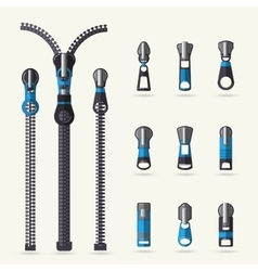 Zipper and fastener set vector