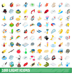 100 light icons set isometric 3d style vector