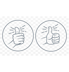 Thumb up in a linear style vector