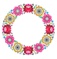 russian floral wreath pattern - colorful folk art vector image