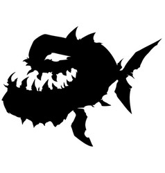 Black graphic silhouette monster fish with big jaw vector