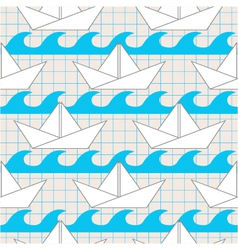 Seamless pattern with paper boats on the waves vector