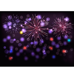 Holiday background with colorful fireworks happy vector