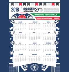 2018 calendar template soccer football vector image