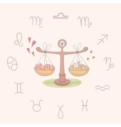 Cartoon of the scales Libra vector image