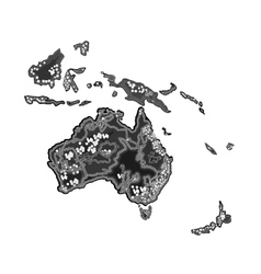 Australia map at night as engraving vintage vector